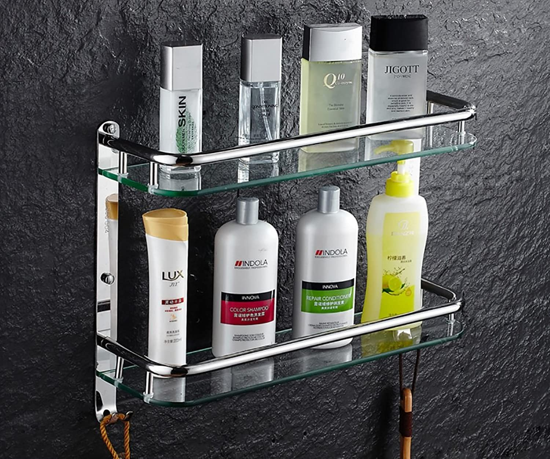 Bathroom Shelf 304 Stainless Steel Bathroom Shelf Bathroom Glass Storage Shelf Bathroom Bathroom Shelf Double Bed Front Frame (color   61CM)