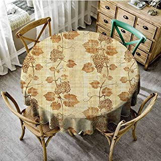 Banquet Round Tablecloth Grapes Home Decor,Cuisine Figure on Ancient Egyptian Papyrus Parchment Aged Crumpled Artwork,Cream Tassel Tablecloth Diameter 70