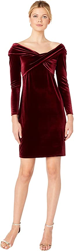 Long Sleeve Cross Front Velvet Dress