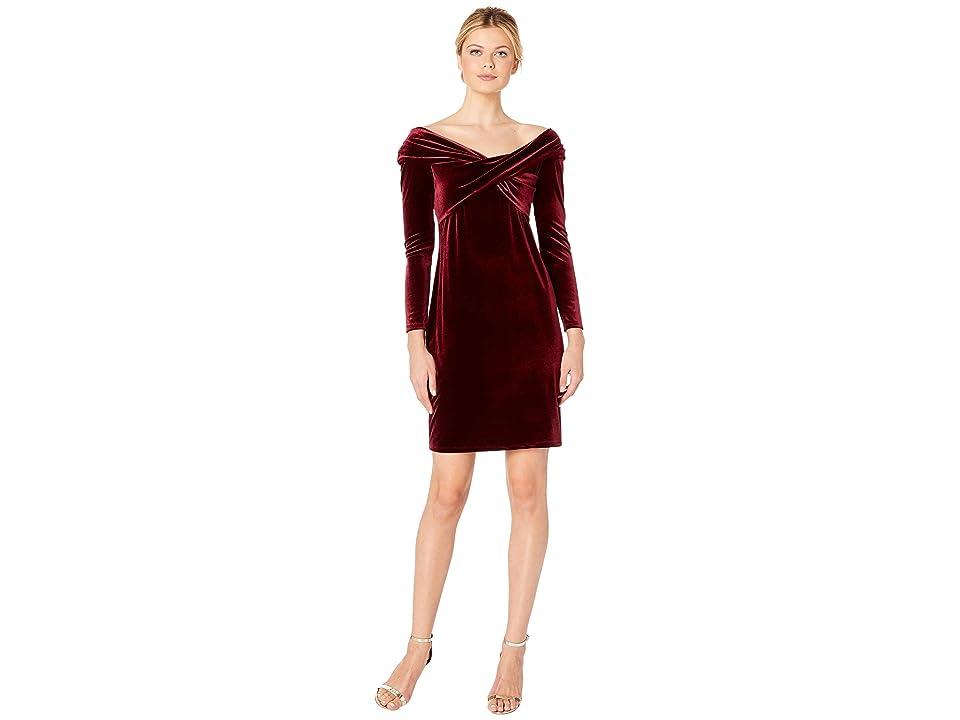 Vince Camuto Long Sleeve Cross Front Velvet Dress (Cabernet) Women