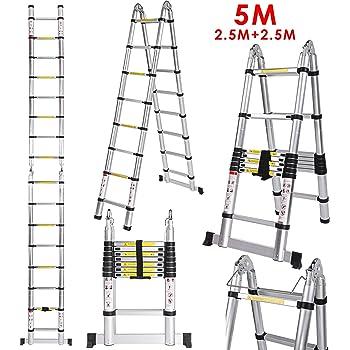 5M(2,5M+2,5m) Escalera telescópica de aluminio, Escalera plegable Escalera Multifunción fácil, Carga maxima150kg (2,5M+2,5m): Amazon.es: Bricolaje y herramientas