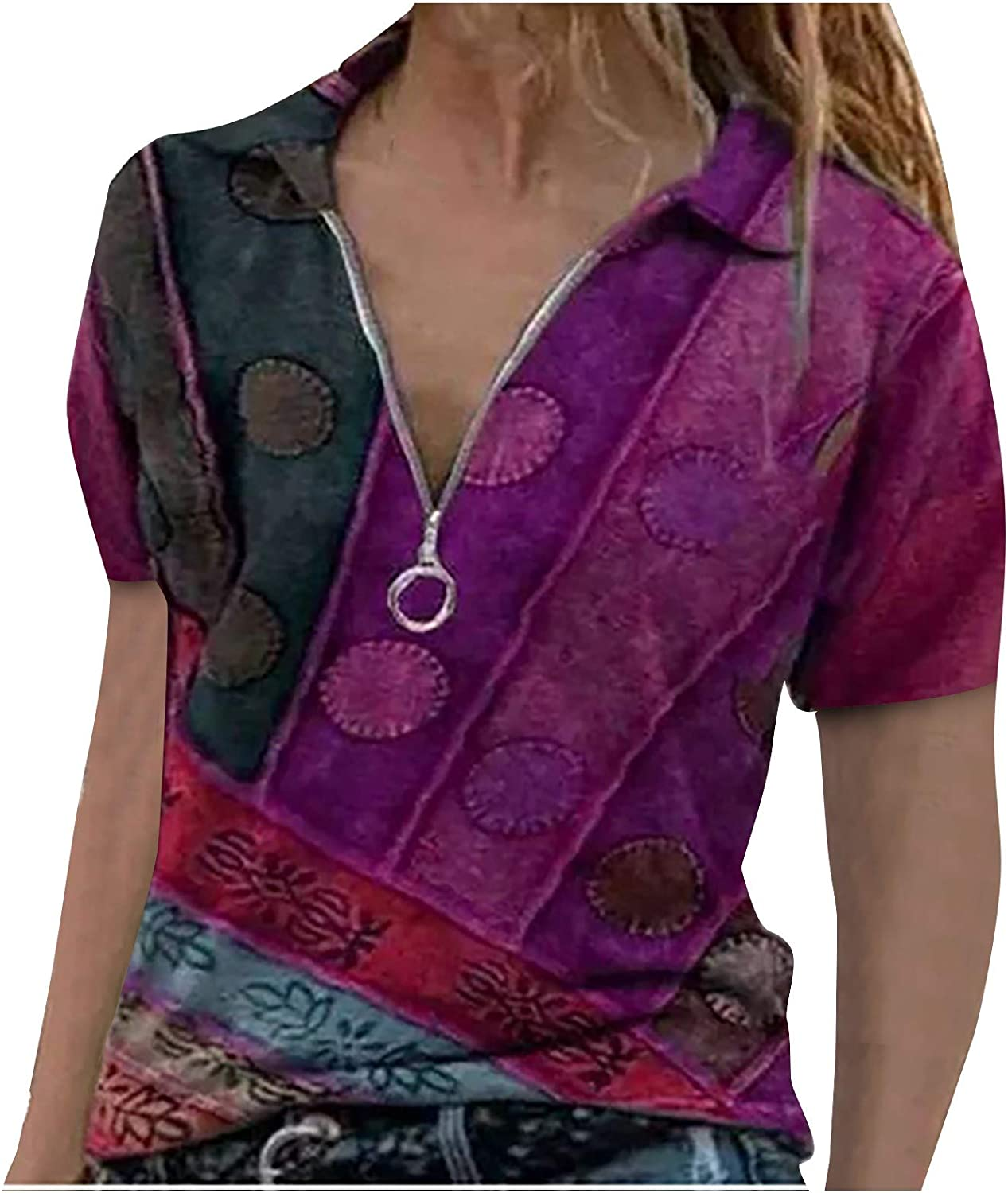 Women Summer Short Sleeve Shirt Polo Neck Zip Blouse Patchwork Loose Soft Vintage Graphic Tee Tops Pullover