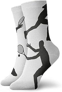 Silueta de personaje de tenis deportivo Calcetines casuales transpirables Calcetines deportivos de viaje Yoga Caminar Ciclismo Correr Fútbol 30cm
