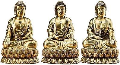 Pure Copper Three Treasures Buddha Statues, Sakyamuni Buddha,Yakushi Buddha,Amitabha Buddha Sculpture, Home Buddha Figurin...