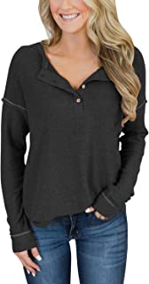 Women's Long Sleeve Henley Tops Casual Scoop Neck Tunics with Buttons