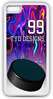 iPhone 6s Plus Hockey Case Fits iPhone 6s Plus or iPhone 6 Plus Make Your Own Photo Design Cell Phone Case with Any Jersey Number Team Name in White Rubber H1082 by TYD Designs