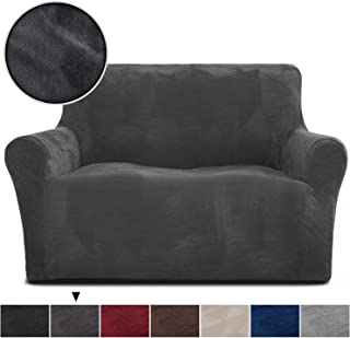 Rose Home Fashion RHF Velvet Loveseat Slipcover Slipcovers for Couches and Loveseats, Loveseat Cover&Couch Cover for Dogs, 1-Piece Sofa Protector(Dark Grey -Loveseat)