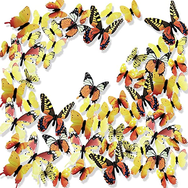 Ewong 3D Butterfly Wall Stickers Arts Decor Crafts For Kids Girls 60PCS Home Decorations For Living Room Baby Bedroom Bathroom Nursery Classroom Office Decals Yellow