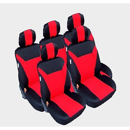 5x Sitze Sitzbezüge Schonbezüge Schonbezug Schwarz Rot Auto