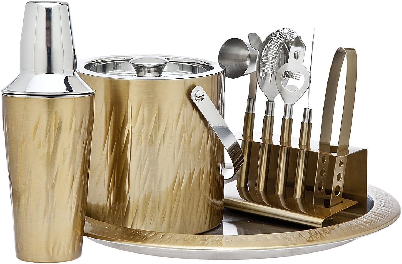 Godinger 9 Piece Barware Set, Aztec gold