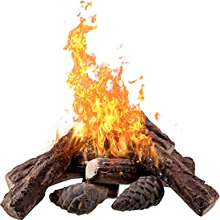 10 Pieces Ceramic Fiber Wood Medium Gas Fireplace Logs for Most Types of Indoor, Gas Insert, Ventless, Propane, Gel, Ethanol, Electric, or Outdoor Fireplaces and Fire Pits, Clean Burning Accessories