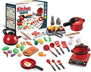 Blusea 52PCS Kitchen Play Toy Kids Pretend Playset with Cookware Pots and Pans Set Play Food Fruits Cooking Utensils Toy C...