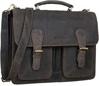c22776edb STILORD 'Karl' Portfolio Leather Large Briefcase Men Teacher's Bag School  Satchel Shoulder Classic Vintage