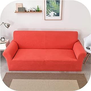 Polar Fleece Sofa Cover Thick Universal Elastic Slipcover Corn Kernels Texture Couch Cover Furniture Covers 1/2/3/4 Seater Sofa,Orange,3-Seat Sofa