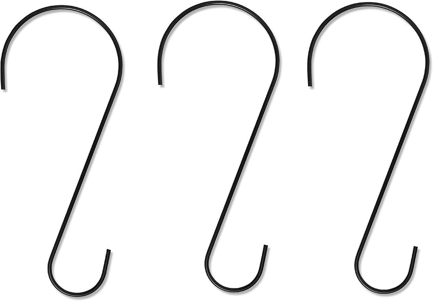 Gray Bunny Metal Tree Branch Hook, 12 Inch, Black, 3-Pack, Premium Extra Thick 1/5 Inch Diameter Rust Resistant Steel S-Hooks for Bird Feeders and Baths, Planters, and More