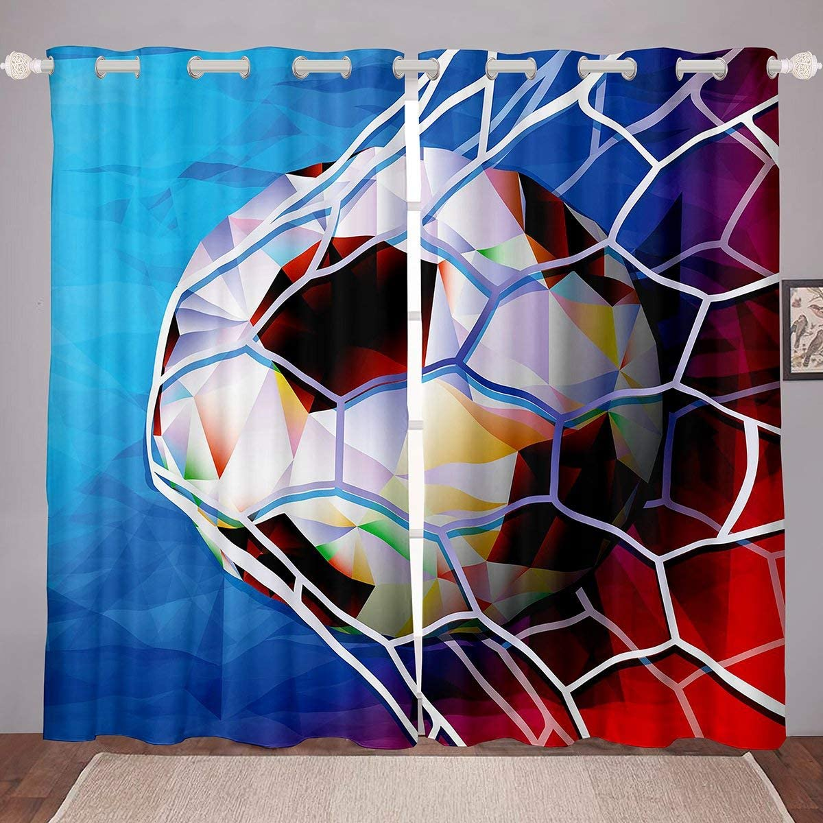 Football Curtains Selling and selling Sports shipfree Theme Bedroom for Livin Window