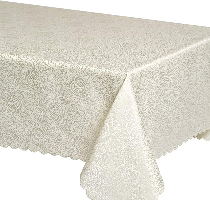 Tabuty Polyester Peony Tablecloth Rectangle 60 X 84 Ivory Table Linens Washable And Durable Table Cover Perfect On Banquet Kitchen Wedding Dinner Home Festivals 60 X 84 Ivory