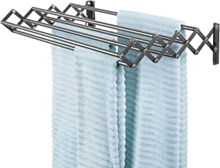 mDesign étendoir à linge en métal – séchoir extensible pour la buanderie avec huit tiges à linge – porte-serviette mural, ...