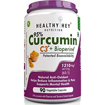 HealthyHey Nutrition Curcumin with Bioperine, Organic Turmeric, 90 Vegetable Capsules with Piperine, Non-GMO & Gluten Free (1300mg) - Pack of 1