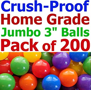 "My Balls Pack of 200 Jumbo 3"" Home Grade Ball Pit Balls - 5 Bright Colors; Crush-Proof; Air-Filled; Phthalate n BPA Free; Non-Toxic; Non-Recycled Plastic (200 Home Grade Balls)"