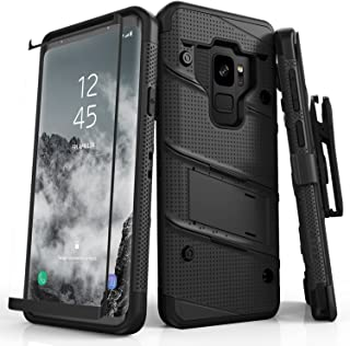 ZIZO Bolt Series Samsung Galaxy S9 Case Military Grade Drop Tested with Tempered Glass Screen Protector Holster Black