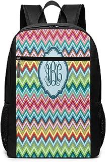 NICOKEE Lightweight Backpack Text Custom Colorful Chevron Monogrammed Sports Backpack School Bookbags 17 Inch Women Men Travel Gaming Laptop Backpack