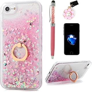 iPhone 8 Case, iPhone 7 Case, Flowing Liquid Floating Bling Glitter Kickstand Cover Shell PC Back 360 Rotating Ring Holder Shockproof TPU Frame Protective Skin for iPhone 7/8 by Badalink - Pink