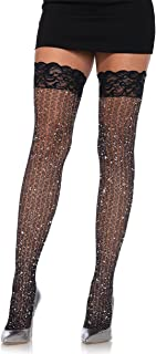 Leg Avenue Women's Stay up lace top Lurex Shimmer Cable net Thigh Highs, black, O/S