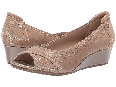 Anne Klein Sport Corner Wedge Heel (Metallic Taupe) Women