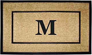 Nedia Home Single Picture Black Frame with Coir Rubber Border Dirt Buster Doormat, 30 by 48-Inch, Monogrammed M