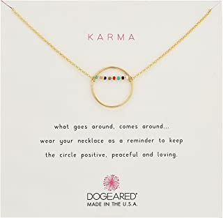 Women's Karma Smooth Open Circle w/Multicolored Seed Bead Bar Necklace