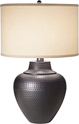 Set of 2 Lamps Kings Brand Grain Gray With White Fabric Shade Table Lamp