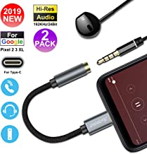 [2019 Upgraded] 2Pack - USB C to 3.5mm Headphone Jack Adapter - Pixel Connector Aux Adapter Compatible with Google Pixel 2/2XL/3/3XL,iPad Pro 2018,Essential PH-1,Moto Z, HTC,Chromebook and More