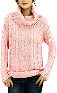 Women's Korean Design Turtle Cowl Neck Ribbed Cable Knit Long Sweater Jumper