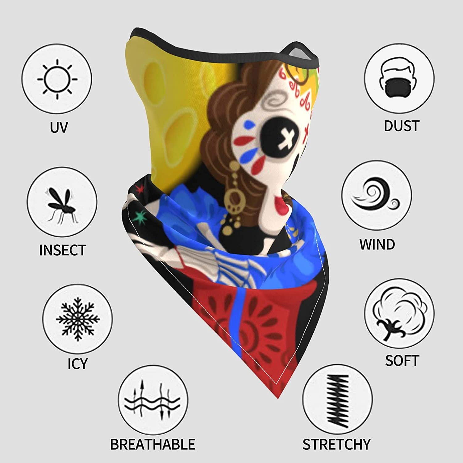 Mexican Skeleton Day Dead Holiday Breathable Bandana Face Mask Neck Gaiter Windproof Sports Mask Scarf Headwear for Men Women Outdoor Hiking Cycling Running Motorcycling