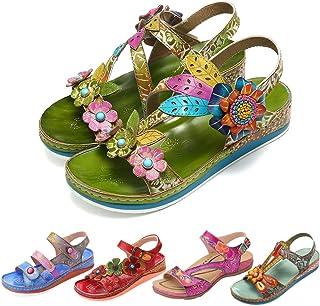 gracosy Sandales en Cuir Pu Femmes, Sandales Nu-pieds Mode à Scratch Chaussures d'été Fleurie à talons Compensés Marche Co...