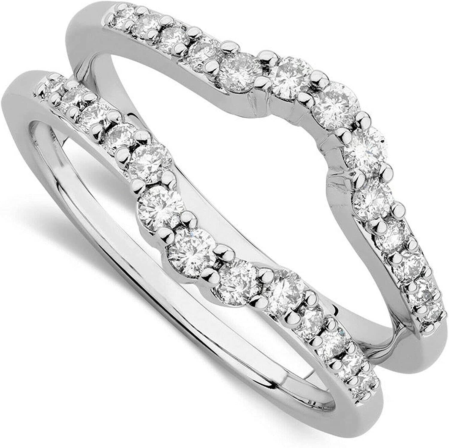 Directly managed store 14K White Gold Finish Sterling Silver Sales of SALE items from new works Solitaire 0.75Ct Enhancer