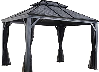 Sojag 12' x 14' Mykonos Double Roof Hardtop Gazebo Outdoor Sun Shelter, 12' x 14', Black
