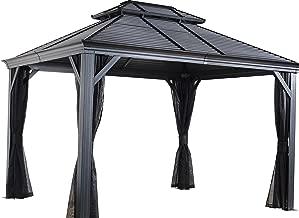 Sojag 10' x 14' Mykonos Double Roof Hardtop Gazebo Outdoor Sun Shelter, 10' x 14', Black