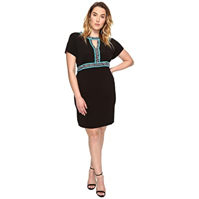 MICHAEL Michael Kors Plus Size Border Print Combo Dress (Black) Women