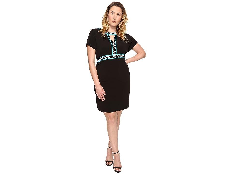 MICHAEL Michael Kors Plus Size Border Print Combo Dress (Black) Women