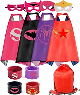 RioRand Kids Costumes 4PCS Superhero Capes with Masks and Slap Bracelets for Girls Dress Up Party Favors