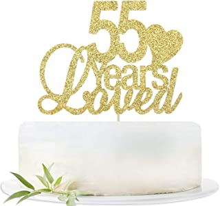 Glitter Gold 55 Years Loved Cake Topper-55th Birthday Wedding Party Decorations Supplies-Fifty-five Birthday or Wedding Party Sign.