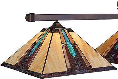 "Pleske Bronze Large Linear Island Pendant Chandelier 56"" Wide Ranier Art Glass 3-Light Fixture for Kitchen Island Dining"