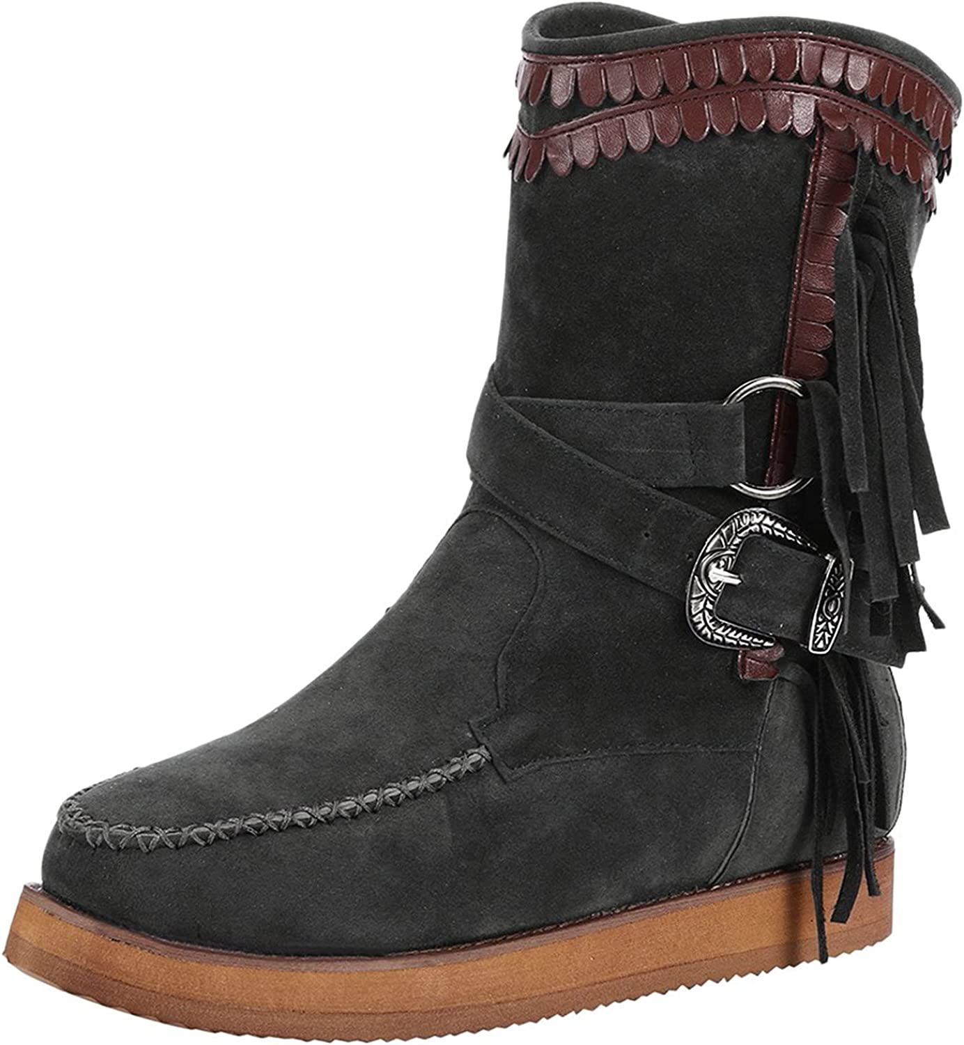 Women's Winter Mid Reservation Calf Boots Retro Low Cross Toe Pointed Straps Popularity