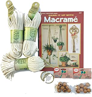 Macrame kit Bundle with Craft Cord, Wooden Beads, Rings, and Project Book for Plant Hangers and Wall hangings (Natural Cotton)