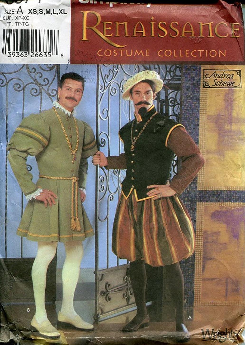 Simplicity Sewing Pattern 5574 Renaissance Tudor Mens Doublet Costume XS-XL
