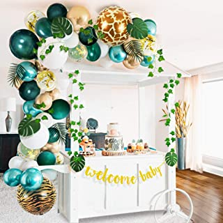 Sweet Baby Co. Jungle Theme Safari Baby Shower Decorations with Green Balloon Garland Backdrop, Tropical Leaves Decoratio...