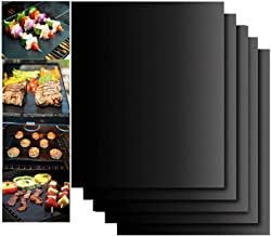 LRIO Tapis de Cuisson pour Barbecue 5 Pièces Feuille Cuisson Barbecue Tapis 40 x 33cm Anti-adhérent et Réutilisable pour B...