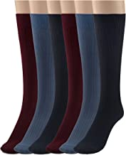 Silky Toes 3 or 6 Pk Women's Cotton Crew Dress Socks -Casual Multi Pack
